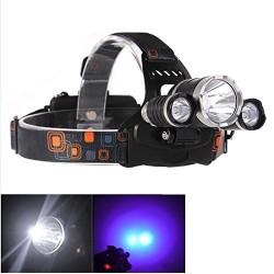 LED šviestuvas ant galvos  su UV, 3 LED