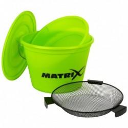 MATRIX LIME Bucket Set graduotas jauko kibiras 20 l su dangčiu ir papildomu indu bei sijojimo tinkleliu